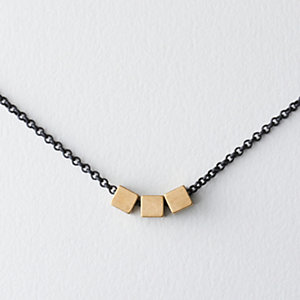 Triple Brass Squares Necklace