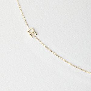 Asymmetrical Mini Letter Necklace - R