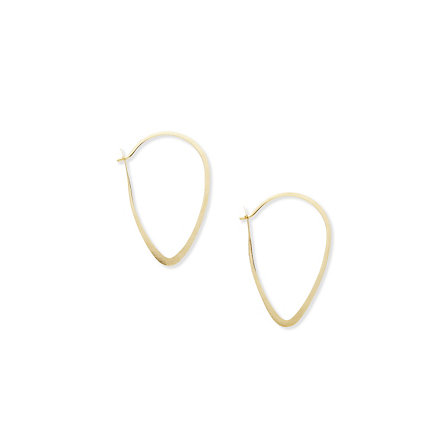 Gold Oval Leaf Hoops