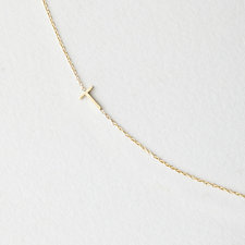 Asymmetrical Mini Letter Necklace - T