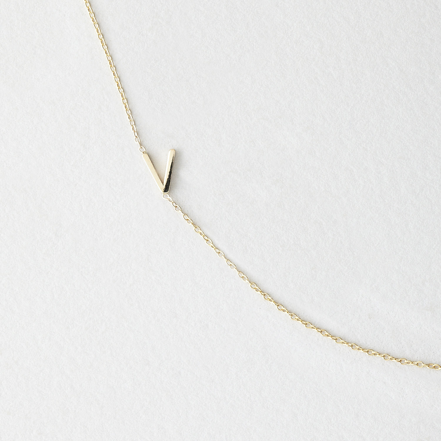 Asymmetrical Mini Letter Necklace - V