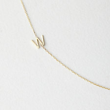 Asymmetrical Mini Letter Necklace - W