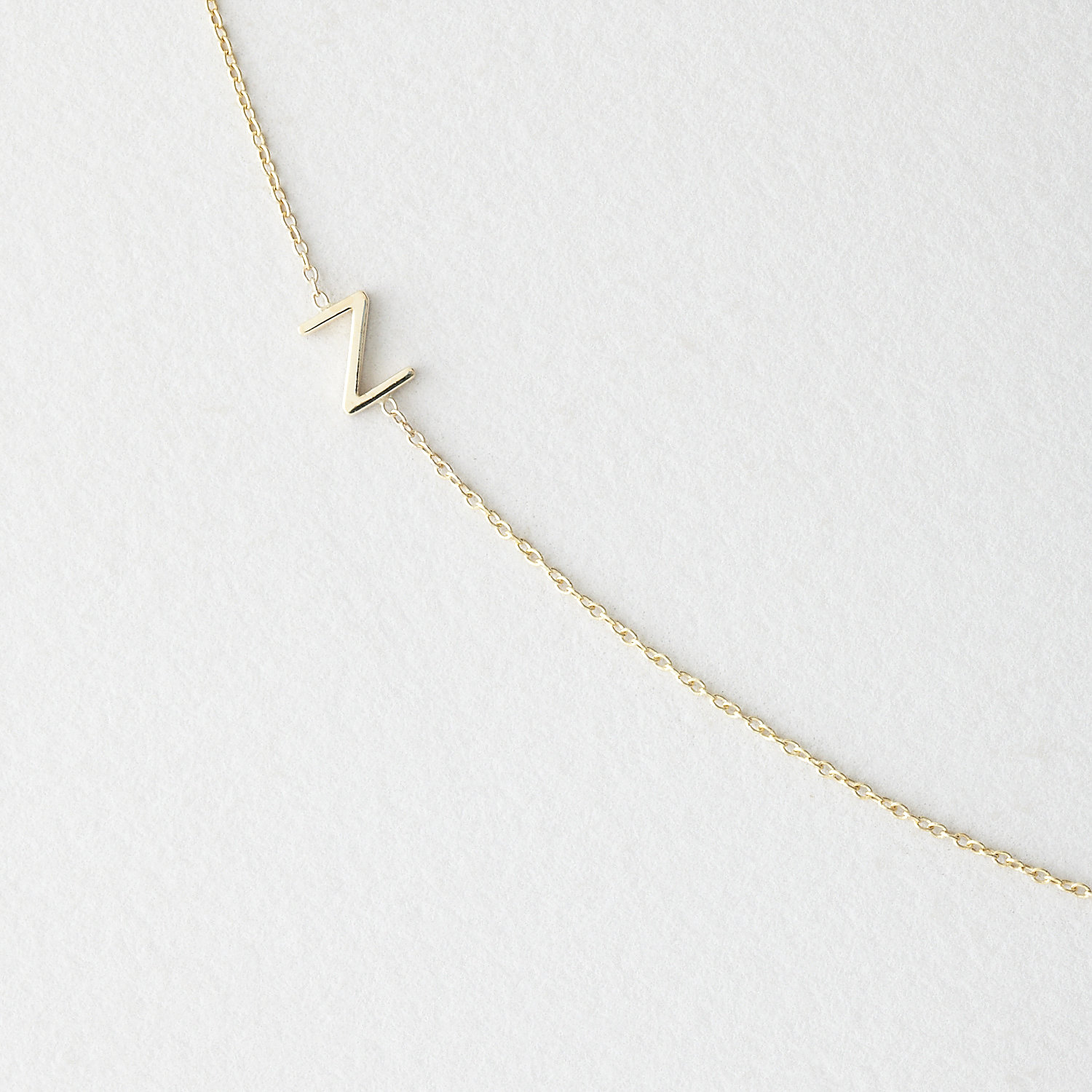 Asymmetrical Mini Letter Necklace - Z