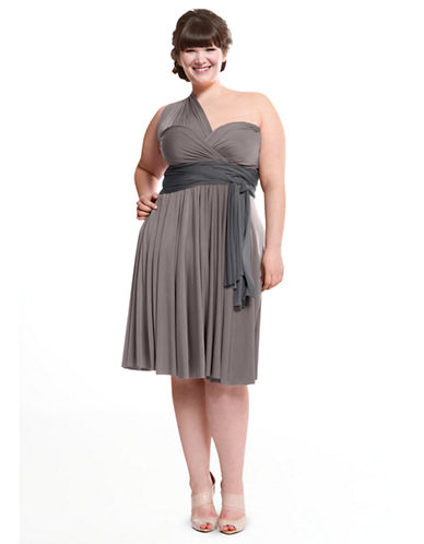 Henkaa Plus Size Sakura Midi Convertible Dress-TENDER TAUPE-One Size