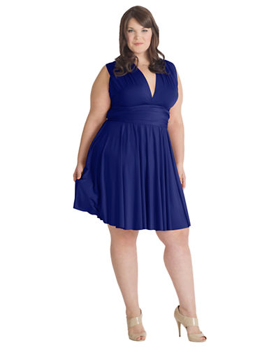 Henkaa Plus Size Sakura Midi Convertible Dress-ROYAL BLUE-Large