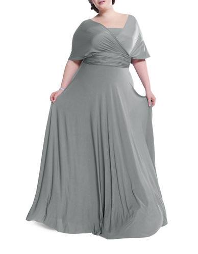 Henkaa Plus Size Sakura Maxi Convertible Dress-DOVE GREY-One Size