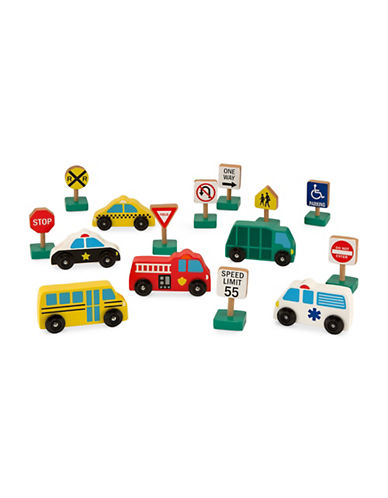 Melissa & Doug Wooden Vehicles and Traffic Signs-MULTI-One Size