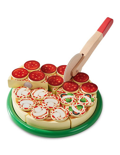 Melissa & Doug Play Wooden Pizza with Toppings and Utensils-MULTI-One Size