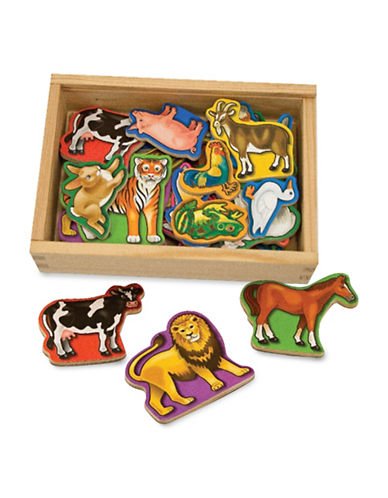 Melissa & Doug 20-Piece Wooden Animal Magnets Play Set-MULTI-One Size