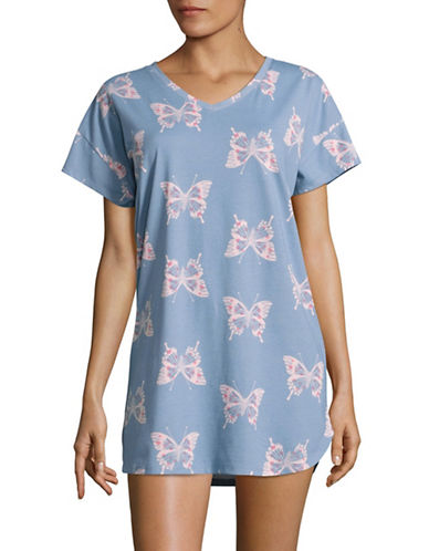 Hue Printed Sleep Shirt-BLUE-Medium
