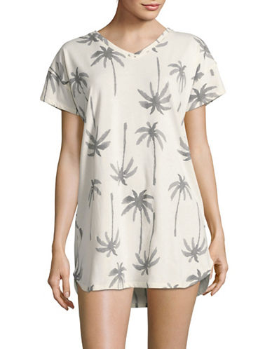 Hue Printed Sleep Shirt-BEIGE-X-Large