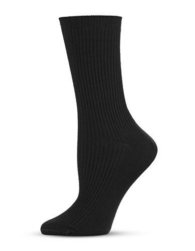 Hue Classic Rib Sock-BLACK-One Size