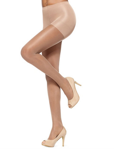 Hue So Silky Sheer with Invisible Reinforced Toe and Control Top-TAN-3