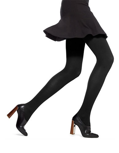 Hue Classic Rib Tights with Control Top-BLACK-2