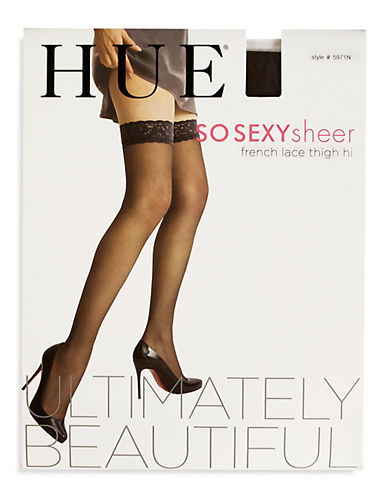 Hue So Silky French Lace Thigh Hi Sheer-BLACK-1