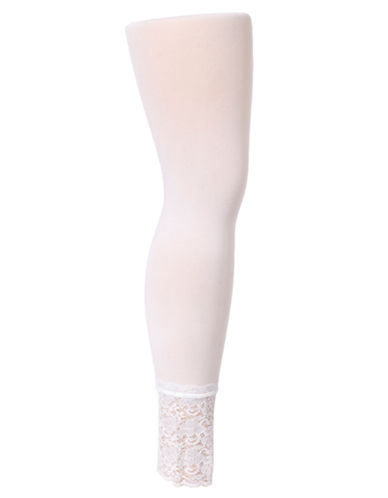 Hue Lace Trim Opaque Footless Tights white Small/Medium