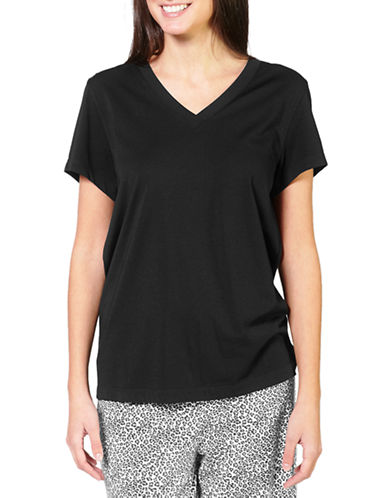 Hue V-Neck Short Sleeve Sleep Tee-BLACK-Small 86776535_BLACK_Small