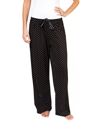 Hue Rio Dot Long Pajama Pant-BLACK-X-Large