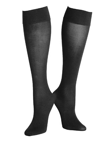 Hue Opaque Knee High-BLACK-2