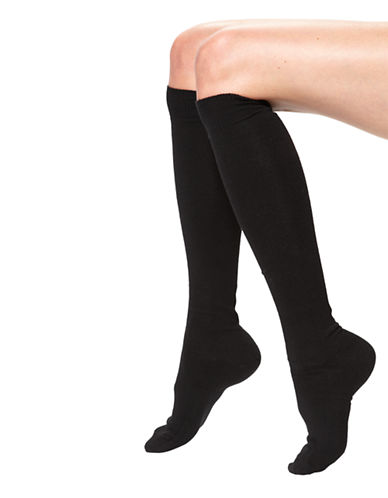 Hue Flat Knit Knee Sock-BLACK-One Size