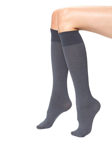 Hue Opaque Knee High-GRAPHITE-One Size