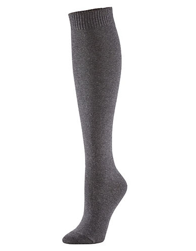 Hue Flat Knit Knee Sock-GREY-One Size
