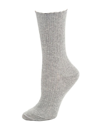 Hue Scalloped-Trim Socks-GREY-One Size