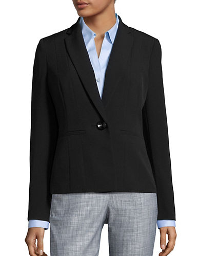 Kasper Suits Seam-Front Solid Blazer-BLACK-8
