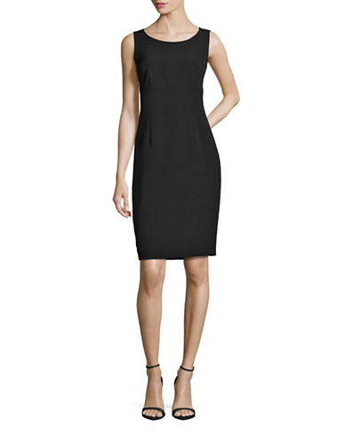 Kasper Suits Solid Empire Sheath Dress-BLACK-4