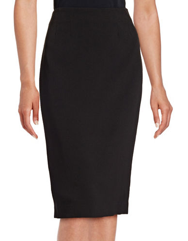 Kasper Suits Solid Pencil Skirt-BLACK-6