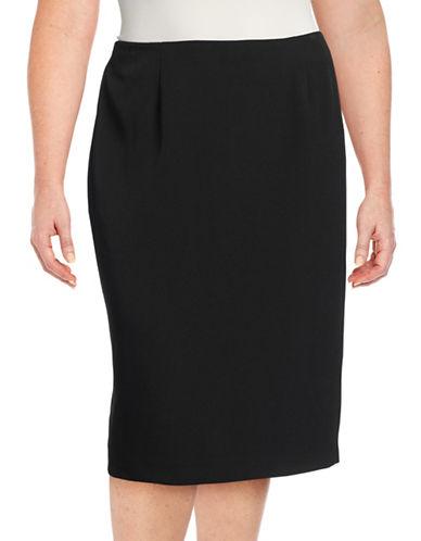 Kasper Suits Plus Stretch Crepe Skimmer Skirt-BLACK-14