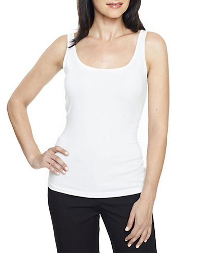 Anne Klein Basic Scoop Neck Tank-WHITE-X-Large 83872448_WHITE_X-Large