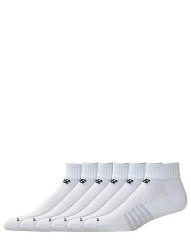 New Balance Mens 6 Pair Pack White Core Cotton Quarter Socks-WHITE-10-12