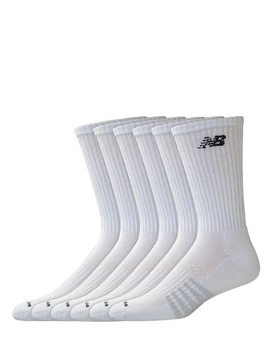 New Balance Mens 6 Pair Pack White Cotton Crew Socks-WHITE-10-12