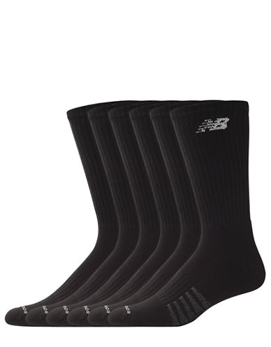 New Balance Mens 6 Pair Pack White Cotton Crew Socks-BLACK-10-12