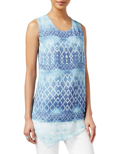 Style And Co. Printed Asymmetrical-Hem Top-BLUE-Small 88325322_BLUE_Small