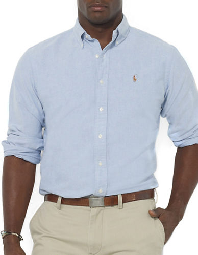 Polo Ralph Lauren Big and Tall Classic-Fit Solid Oxford Sport Shirt-BLUE-4X Tall