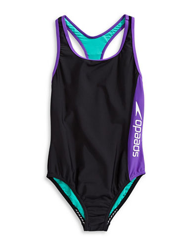 Speedo One-Piece Logo Swimsuit-GREY-12