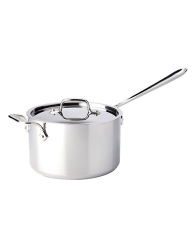 All-Clad 4 quart Stainless Steel Sauce Pan with Lid-SILVER-One Size