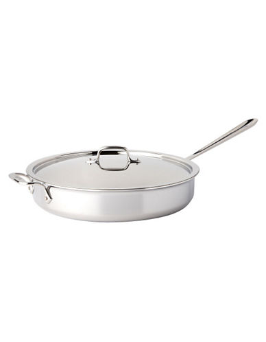 All-Clad 6 quart Stainless Steel Saute Pan with Lid-SILVER-One Size