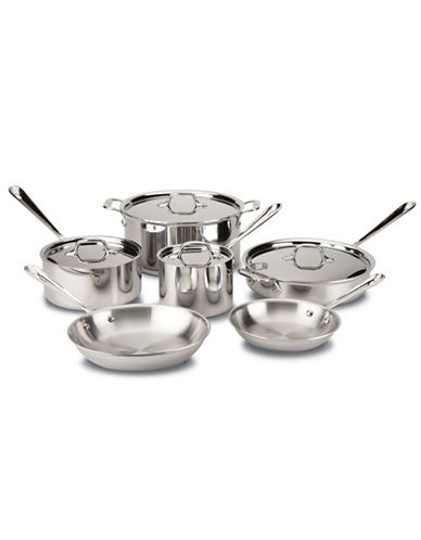 All-Clad 10 Piece Stainless Steel Cookware Set-SILVER-One Size