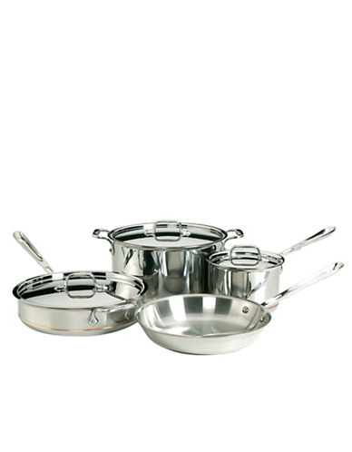 All-Clad Seven-Piece Stainless Steel Copper Core Cookware - Induction Ready-SILVER-One Size