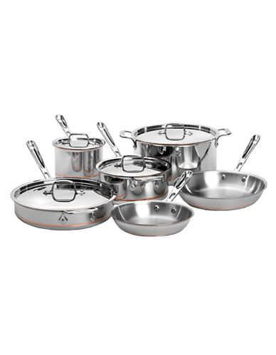 All-Clad Ten-Piece Copper Core Stainless Steel Cookware Set - Induction Ready-SILVER/COPPER-One Size