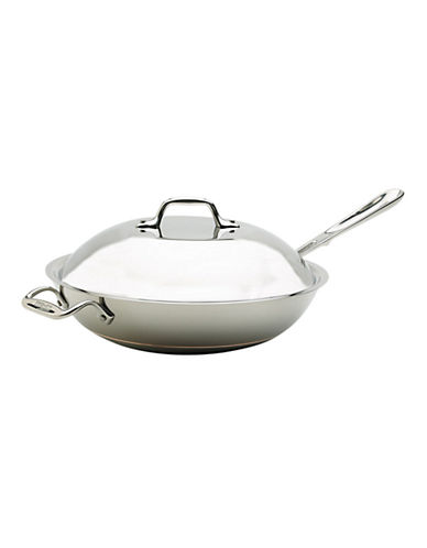 All-Clad 4 quart Copper Core Chef Pan with Lid-SILVER-One Size
