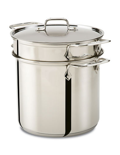 All-Clad Stainless Steel 8qt Pasta Pot with Perforated Insert-STAINLESS STEEL-One Size