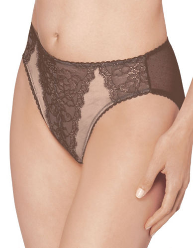 Wacoal Retro Chic Hi Cut Brief-CAPPUCINO-Large