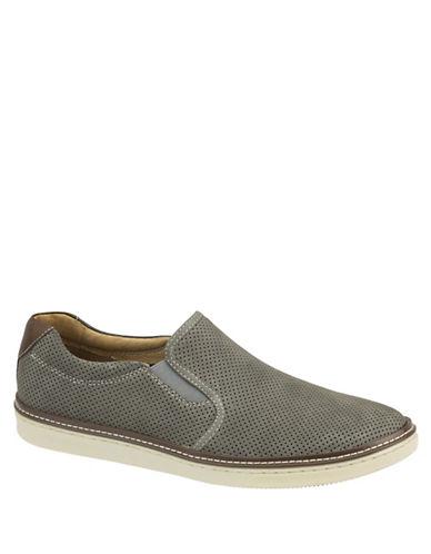 Johnston & Murphy McGuffey Nubuck Leather Perforated Slip-Ons-GREY-11.5