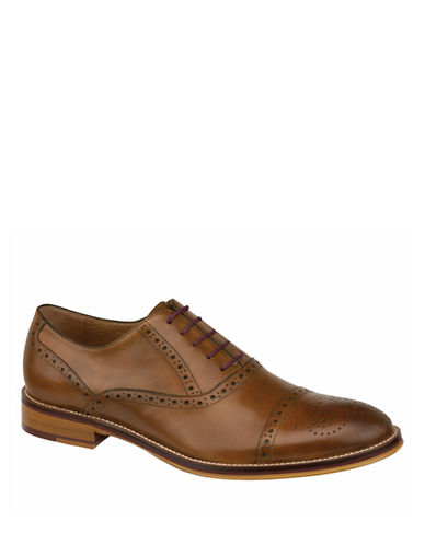 Johnston & Murphy Conard Cap Toe Half Brogues-TAN-12W