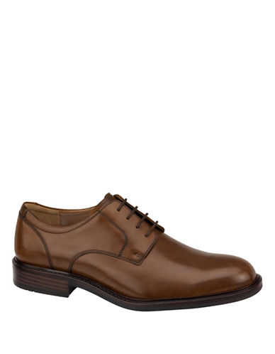 Johnston & Murphy Tabor Premium Calfskin Plain-Toe Oxfords-TAN-10.5