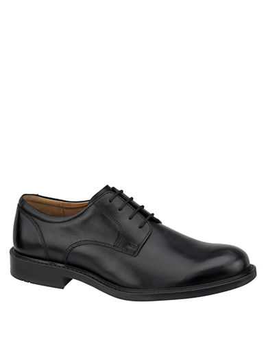 Johnston & Murphy Tabor Premium Calfskin Plain-Toe Oxfords-BLACK-11.5
